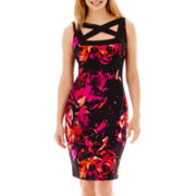 Melrose Sleeveless Cross-Neck Print Scuba Dress - Petite