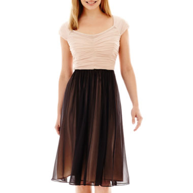 jcpenney.com | Signature by Sangria Cap-Sleeve Pleated Fit-and-Flare Dress - Petite