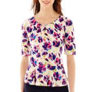 Liz Claiborne® Elbow-Sleeve Peplum Top - Tall