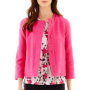 Liz Claiborne® 3/4-Sleeve Tweed Cropped Jacket - Tall