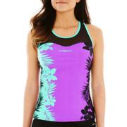 ZeroXposur® Tropical Print Racerback Tankini Swim Top
