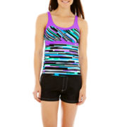 ZeroXposur® Striped Tankini Swim Top or Woven Board Shorts