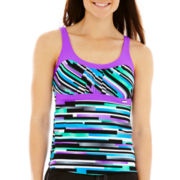 ZeroXposur® Striped Peasant Tankini Swim Top