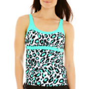 ZeroXposur® Animal Print Peasant Tankini Swim Top