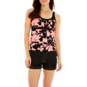 ZeroXposur® Floral Print Peasant Tankini Swim Top or Woven Board Shorts