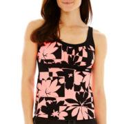 ZeroXposur® Floral Print Peasant Tankini Swim Top