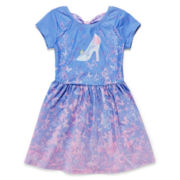 Cinderella Short-Sleeve Bow-Back Dress - Girls 7-16