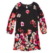 My Michelle® Long-Sleeve Floral-Print Dress – Girls 7-16