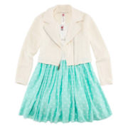 Knit Works Moto Jacket, Skater Dress and Necklace Set – Girls 7-16