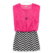 Speechless® Sleeveless Blouson Dress and Necklace - Girls 7-16