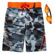 ZeroXposur® Fractal Camo Swim Trunks and Goggles – Boys 4-7