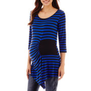 Maternity Elbow-Sleeve Striped Ruched Side-Patch Tunic - Plus