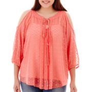 by&by 3/4-Sleeve Cold-Shoulder Woven Top - Plus