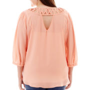 by&by 3/4-Sleeve Lattice-Back Crepe Top - Plus