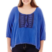 Arizona 3/4-Sleeve Sharkbite Peasant Top - Plus
