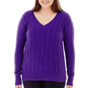 Arizona Long-Sleeve Cable Knit Sweater - Juniors Plus