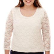 Arizona 3/4-Sleeve Lace Knit Tee - Plus