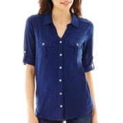 Liz Claiborne® Elbow-Sleeve Roll-Tab Button-Front Soft Shirt - Petite