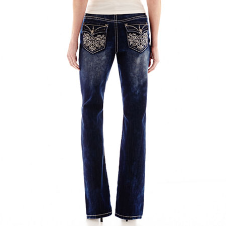 Love Nation Cross Embellished Back Pocket Bootcut Jeans