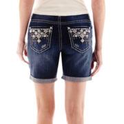 Love Indigo Geometric Back Pocket Denim Shorts