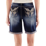 Love Indigo Angel Wing Back Pocket Denim Shorts