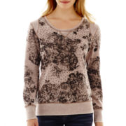 i jeans by Buffalo Long-Sleeve Floral Sparkle Sweatshirt