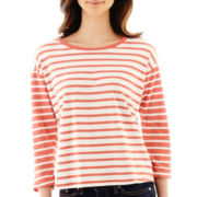 Levi's® 3/4 Sleeve Striped Cropped Tee