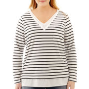 Liz Claiborne® Long-Sleeve Striped Layered Top - Plus