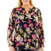 Liz Claiborne® Long-Sleeve Print Tunic Blouse with Cami - Plus
