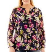 Liz Claiborne® Long-Sleeve Print Tunic Blouse with Cami - Plus