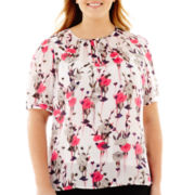 Liz Claiborne® Short-Sleeve Floral Blouse with Cami - Plus