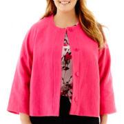 Liz Claiborne® 3/4-Sleeve Tweed Cropped Jacket - Plus
