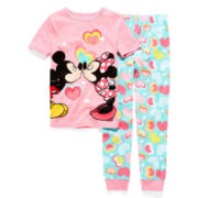 Disney Collection 2-pc. Mickey and Minnie Pajama Set – Girls 2-10