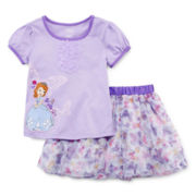 Disney Collection 2-pc. Sofia the First Shirt and Skirt Set - Girls 2-10