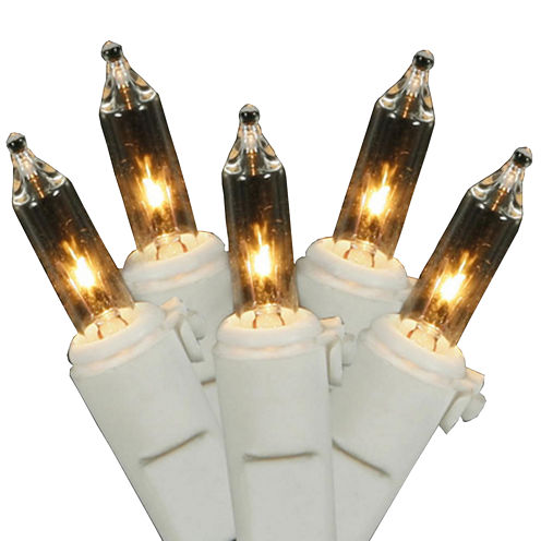 Set Of 50 Clear Mini Christmas Lights With White Wire