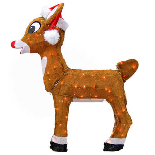 """26"""" Pre-Lit Rudolph The Red-Nosed Reindeer In Santa Hat Yard Art with Clear Lights"""""""