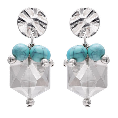 Mixit Turquoise Disc Drop Earrings