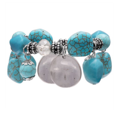 jcpenney.com | Mixit Womens Turquoise Shaky Nugget And Beaded Bracelet
