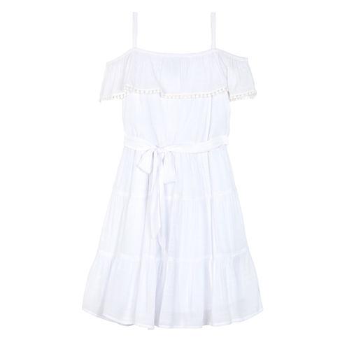 Byer White Gauze Off-Shoulder Ruffle Dress