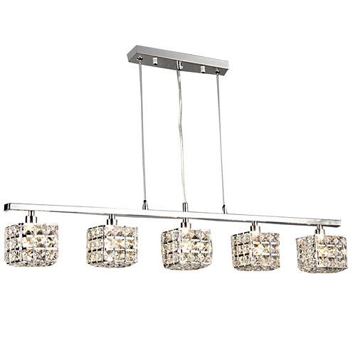 Warehouse Of Tiffany Sandra 5-light Crystal 34-inch Chrome Chandelier