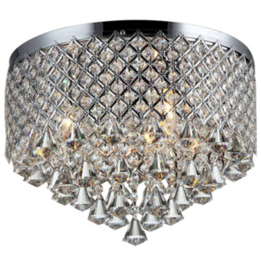 jcpenney.com | Warehouse Of Tiffany Trey 3-light Chrome 16-inch Crystal Flush Mount