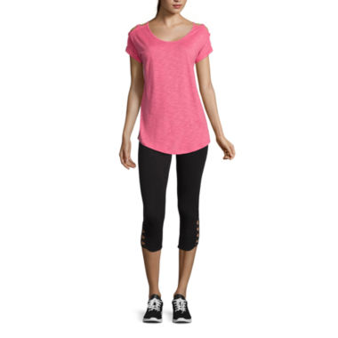 jcpenney.com | Xersion™ Studio Lattice Shoulder Short Sleeve Tee or Studio Cotton Blend Capris