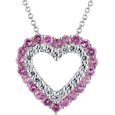 jcpenney.com | Genuine Amethyst & Lab-Created White Sapphire Heart Sterling Silver Necklace