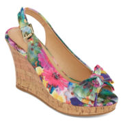 CL by Laundry Imagined Garden Print Peep-Toe Wedges