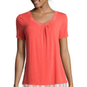 Ambrielle® Lace Neck Knit Sleep Tee