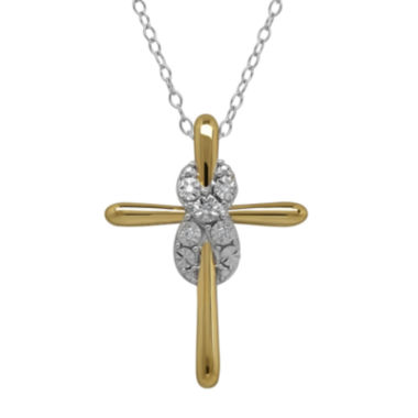 jcpenney.com |  Diamond-Accent 14K Yellow Gold Over Silver Infinity Cross Pendant Necklace