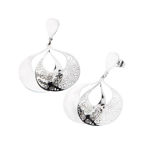 Stainless Steel Flower Filigree Drop Earrings