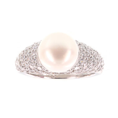 jcpenney.com | DiamonArt® Cultured Freshwater Pearl and Cubic Zirconia Sterling Silver Ring