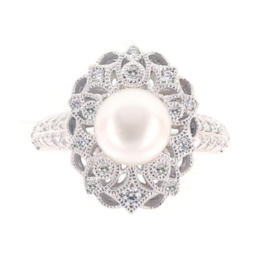 jcpenney.com | DiamonArt® Cubic Zirconia and Cultured Freshwater Pearl Sterling Silver Ring