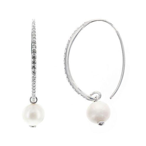 DiamonArt® Cubic Zirconia Cultured Freshwater Pearl Sterling Silver Hoop Earrings